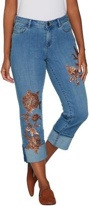 Logo By Lori Goldstein LOGO Lavish by Lori Goldstein Straight Leg Crop Jeans w/ Sequin Detail