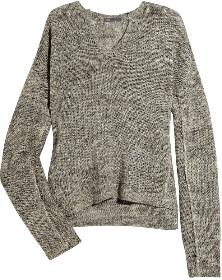 Vince Open-knit linen-blend sweater