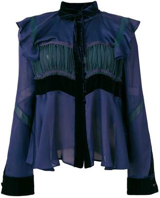 Sacai frill trimmed blouse