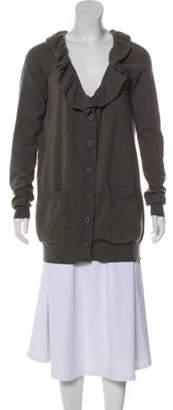 Stella McCartney Ruffle-accented Wool Cardigan Grey Ruffle-accented Wool Cardigan