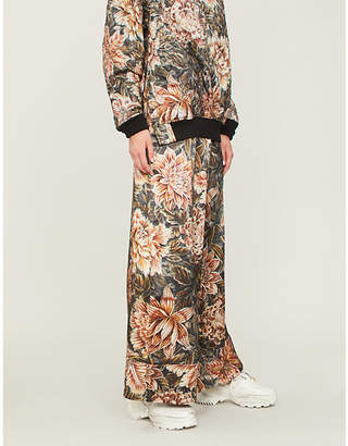 Y-3 Y3 Floral-print wide-leg satin jogging bottoms