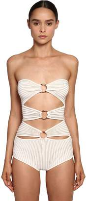 Elie Saab Gold Rings Knit Bodysuit