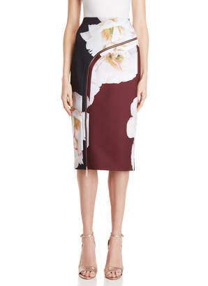 Ted Baker Floral Zipper Scuba Skirt