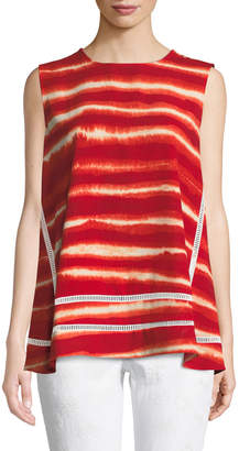 Donna Karan Crewneck Sleeveless Artisan-Striped Top w/ Ladder-Stitching