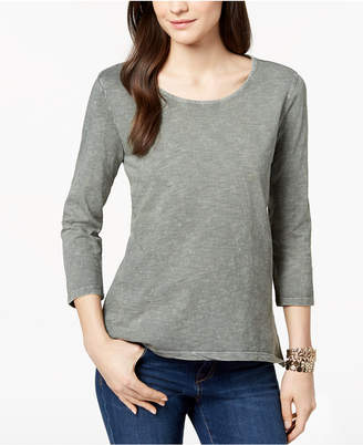Style&Co. Style & Co Petite Cotton Pleat-Back Peplum Top, Created for Macy's
