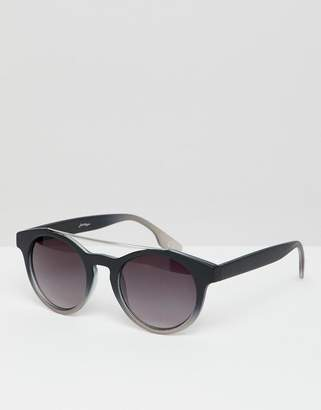 Jeepers Peepers round sunglasses in gray with double brow