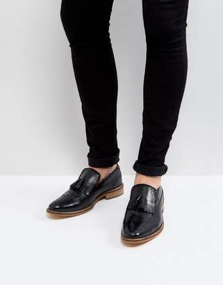 Asos Loafers In Black Leather With Natural Sole And Fringe Detail