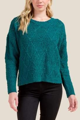 francesca's Alison Diamond Stitch Sweater - Forest