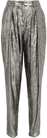 Michael Kors Collection - Silk-blend Lamé Tapered Pants - Silver