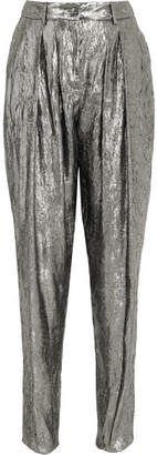 Michael Kors Collection - Silk-blend Lamé Tapered Pants - Silver $1,295 thestylecure.com
