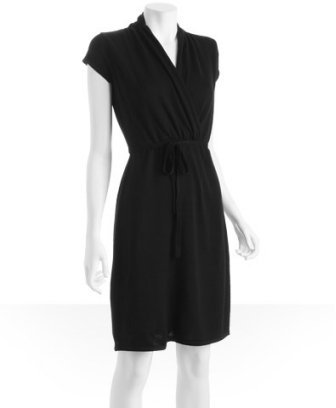 Design History black merino wool belted faux wrap dress