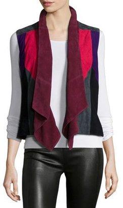 Bagatelle Patchwork Suede Vest, Multi Colors $365 thestylecure.com
