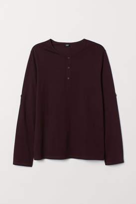 H&M Cotton Jersey Henley Shirt - Red
