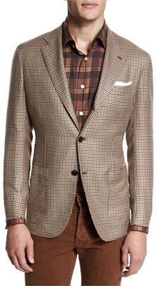Kiton Houndstooth Two-Button Cashmere Jacket, Tan/Brown $7,495 thestylecure.com