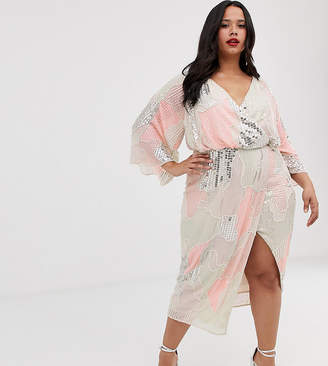 Asos DESIGN Curve midi kimono dress in pearl and sequin patched embellishment