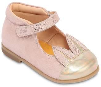 Ocra Bunny Polka Dot Leather Ballerina Flats
