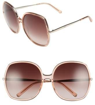 Chloé 62mm Oversized Gradient Lens Square Sunglasses