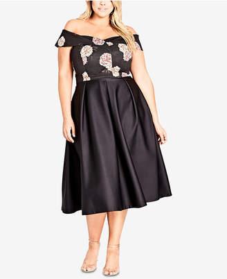 City Chic Trendy Plus Size Satin Midi Skirt