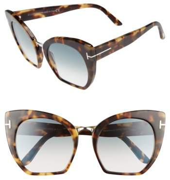 Women's Tom Ford Samantha 55Mm Sunglasses - Havana/ Gradient Blue