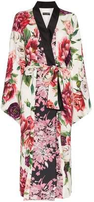 Dolce & Gabbana peony print jacquard robe