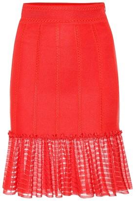fbaf1c0ad5b4 Alexander McQueen Organza-trimmed knit miniskirt