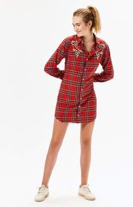 Kendall + Kylie Embroidered Long Sleeve Shirt Dress