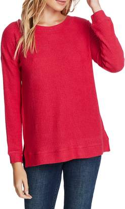 1 STATE 1.STATE Lattice V-Back Waffle Weave Sweater