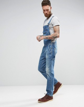ASOS Denim Overalls With Retro Front Pocket In Vintage Light Blue Wash $72 thestylecure.com