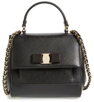Salvatore Ferragamo 'Small Carrie' Leather Top Handle Satchel - Black $1,250 thestylecure.com