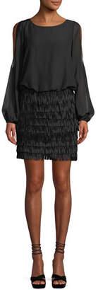 Aidan Mattox Slit-Sleeve Mini Dress w/ Fringe Skirt