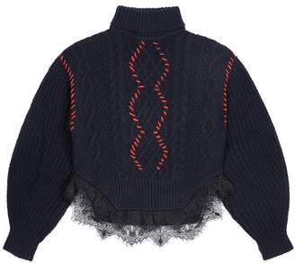 Self-Portrait Self Portrait Knit Lace Trim Turtleneck Sweater