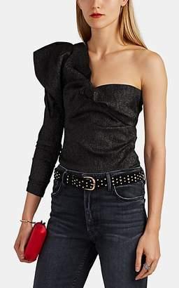 Isabel Marant Women's Crinkled Lamé One-Shoulder Top - Black