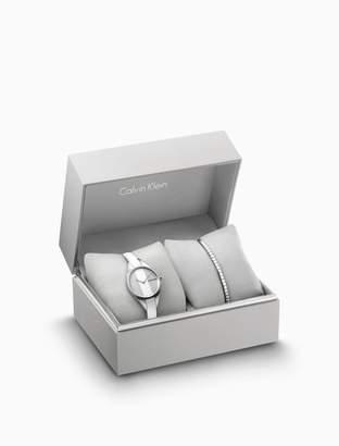 Calvin Klein rebel leather watch + tune crystal bracelet gift set