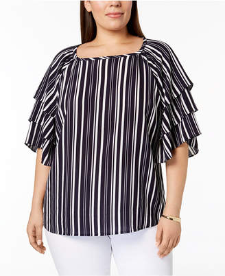 Charter Club Plus Sized Striped Tiered-Sleeve Top