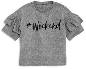 Aqua Girls' Ruffled #Weekend Tee, Big Kid - 100% Exclusive