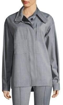 Victoria Beckham Women's High Neck Cargo Shirt - Blue Denim - Size UK 10 (6)