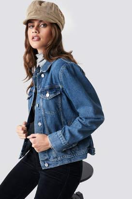 NA-KD Na Kd Regular Denim Jacket Dark Blue