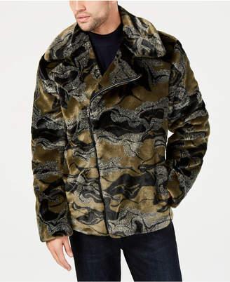 INC International Concepts I.n.c. Men Camo-Print Faux-Fur Coat