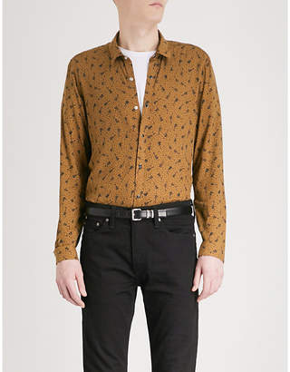 The Kooples Guitar and music-note pattern slim-fit woven shirt