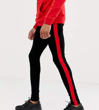 ed6f33661 Sixth June super skinny jeans in black with red side stripe exclusive to  ASOS