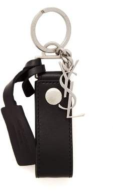 Saint Laurent Monogram Leather Key Ring - Mens - Black