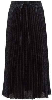 RED Valentino Drawstring Waist Pleated Brocade Midi Skirt - Womens - Navy