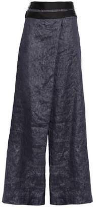 Amanda Wakeley Echo Satin-trimmed Linen-blend Wide-leg Pants