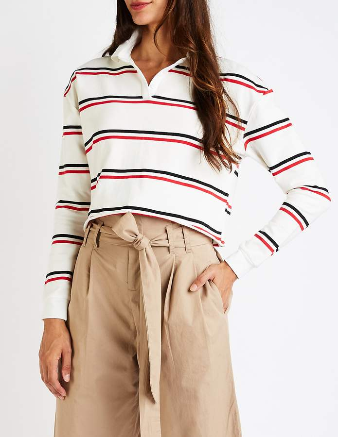 Charlotte Russe Striped Crop Polo