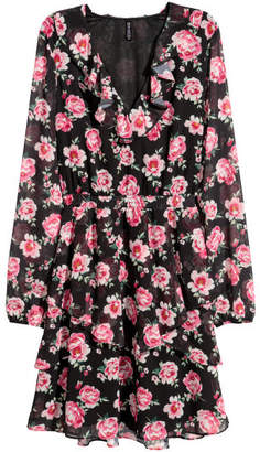 H&M Chiffon Dress with Flounces - Black
