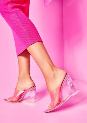b97007eaf9c Missy Empire Missyempire Jackie Neon Pink Perspex Pointed Wedge Mules