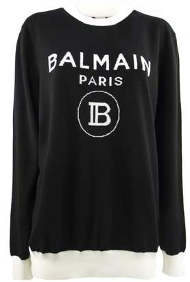 Balmain Black Wool And Cashmere Blend Jumper