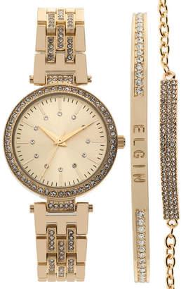 Elgin Womens Gold Tone Bracelet Watch-Eg160013gtst