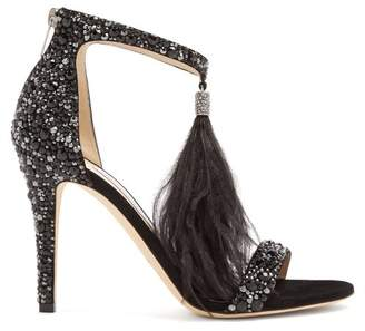 Jimmy Choo Viola 100 Crystal Embellished Suede Sandals - Womens - Black