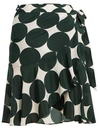 Adriana Degreas - Cacao Polka Dot Silk Wrap Skirt - Womens - Green Multi